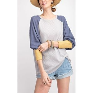 Color Block Thermal Knit Top in Faded Denim